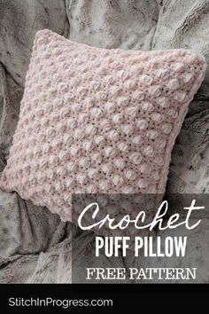 This puff pillow cover is crocheted with just one skein of yarn. You can work this free pattern to cover a pillow and add a handmade touch to your decor. #homedecor #crochet #freepattern