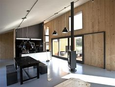 An experimental home by CITYFÖRSTER in The Netherlands makes use of secondhand materials, a rubber exterior, and prefab design with a focus on simplicity. Plywood Interior, Plywood Walls, Timber Architecture, Architecture Design, Timber Structure, Wooden House, Prefab Homes, Cladding, Building A House