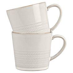 Buy Denby Natural Canvas Textured Mugs, Set of 2 Online at johnlewis.com