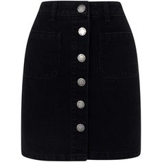 Miss Selfridge Black Patch Pocket Skirt (175 BRL) ❤ liked on Polyvore featuring skirts, mini skirts, black, short skirts, short a line skirt, a-line skirt, denim button skirt and a line denim skirt