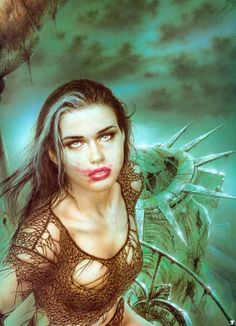 Luis Royo, Liberty III Millennium, cover art for the III Millennium art book, NBM 3d Fantasy, Fantasy Kunst, Fantasy Landscape, Fantasy Girl, Fantasy Artwork, Dark Fantasy, Landscape Art, Fantasy Warrior, Liberty