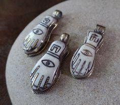 Small Carved Hamsa Pendants Handcrafted in by AquaTerraBazaar