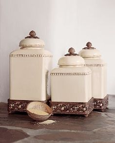 Gg Collection Acanthus Set Of 3 Canisters With Brown Metal Base Www