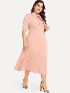9b72c10c27 Shop Plus Cut Out Tie Neck Dress online. SHEIN offers Plus Cut Out Tie Neck  Dress   more to fit your fashionable needs.
