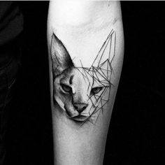 Over 20 works by the artist Kamil Mokot, who designs charcoal-flavored geometric tattoos. - Over 20 works by artist Kamil Mokot, who designs charcoal-flavored geometric tattoos – Artistic B - Girly Tattoos, Disney Tattoos, Trendy Tattoos, Popular Tattoos, Mini Tattoos, Small Tattoos, Cat Tattoo Designs, Tattoo Designs For Women, Tattoos For Women
