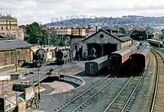 View of the turntable and Midland shed at Bath Green Park, just 2 days after the cessation of the use of S & D as a through route. Locos visible are (l to r) Steam Locomotive, Diesel Locomotive, Steam Trains Uk, Old Train Station, Train Stations, Disused Stations, Holland, Steam Railway, Southern Railways