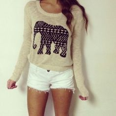 Teen Fashion - elephant sweater   For winter, the shorts could be white skinnies. Super cute for all seasons