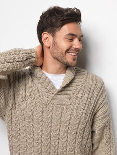 Ravelry: Geoffrey pattern by Pat Menchini Cable Knitting Patterns, Knitting Designs, Knitting Projects, Mens Shawl Collar Sweater, Men Sweater, Creative Knitting, Mens Jumpers, Cable Knit Sweaters, Knit Crochet