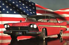 Old-timer Plymouth  Jan Keteleer (tags) acrylic, american, belvedere, car, cars, fifties, flag, oil, oil painting, old, old timer, oldtimer, old-timer, oldtimers, old-timers, painting, photorealistic, plymouth, red, refexion, reflection, sedan, stars, stars and stripes, stripes, the fifties, U.S.A., united states, USA, veteran
