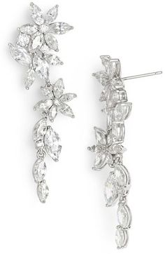 Nadri Floral Crystal Linear Drop Earrings