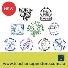 NEW: StickyBoo - Stamp it  Pre-inked stamps produce 1000's of beautiful impressions and are refillable. Super cute designs and loads fun. Your students will love these stamps!