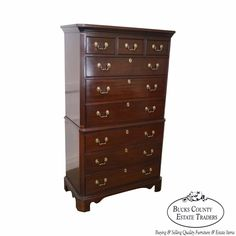 Mahogany Chippendale Style Tall Chest on Chest by Harden #Chippendale