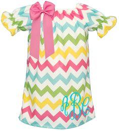 Monogrammed Pastel Chevron Peasant Dress