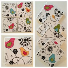 Retro Birds and Flowers  Tile Coasters by PamelaChrisDesigns, $14.00