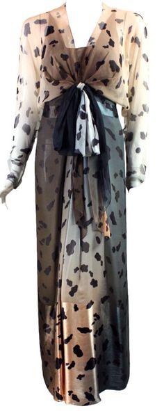 Bill Blass - Robe Maxi - Voile Imprimé Beige et Noir - Années 80