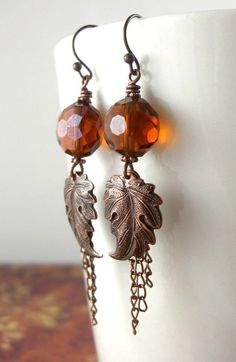 Items similar to Sunset Brown Glass Autumn Leaf Fall Earrings on Etsy Wire Wrapped Jewelry, Wire Jewelry, Jewelry Crafts, Beaded Jewelry, Jewellery, Jewelry Ideas, Fall Jewelry, Earring Tutorial, Diy Schmuck