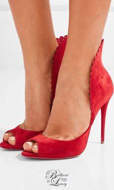 Brilliant Luxury by Emmy DE ♦Christian Louboutin Pijonina scalloped suede pumps Christian Louboutin Outlet, Louboutin High Heels, Stiletto Heels, Stilettos, Fashion Heels, Fashion Boots, Women's Fashion, Peep Toe, Red Bottom Heels