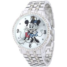 Disney Mickey/Minnie Mouse Womens Crystal-Accent Silver-Tone Bracelet... ($56) ❤ liked on Polyvore featuring jewelry, watches, bezel jewelry, disney watches, colorful watches, quartz jewelry and silvertone watches