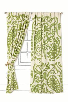 Ideas For Living Room Decor Green Accents Curtains Paisley Curtains, Cute Curtains, Green Curtains, Drapes Curtains, Office Curtains, Beautiful Curtains, Kitchen Curtains, Diy Curtians, Pattern Curtains