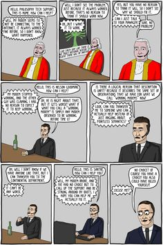 """""""Philosophy Tech Support"""" by Existential Comics. See full comics: http://existentialcomics.com/comic/51"""