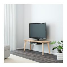 IKEA - LISABO, TV unit, , A TV bench with clean and simple lines and an extra shelf that holds a digital TV receiver or a DVD player.The table surface in ash veneer and legs in solid birch give a warm, natural feeling to your room.Easy to assemble as each leg has only one screw.Ash is a naturally durable material. The surface has been made even more durable by a protective coat of lacquer, which also helps it keep its natural wood feel.Each table has its own unique character due to the…