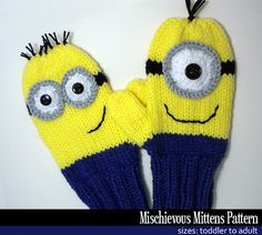 Mischievous Minion Mittens By Janet Jameson - Purchased Knitted Pattern - Adult And Child Sizes - (ravelry) How To Start Knitting, Knitting For Kids, Loom Knitting, Baby Knitting, Mittens Pattern, Sweater Knitting Patterns, Knit Mittens, Crochet Patterns, Yarn Projects