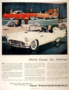 1956 Ford Thunderbird original vintage advertisement. What a mink coat does to perk up a lady, a Thunderbird does for a male.
