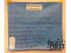 Fun in First Grade: Columbus Day First Grade, Second Grade, Happy Columbus Day, Kindergarten Social Studies, Teaching Profession, New Teachers, School Holidays, Anchor Charts, Nonfiction Books