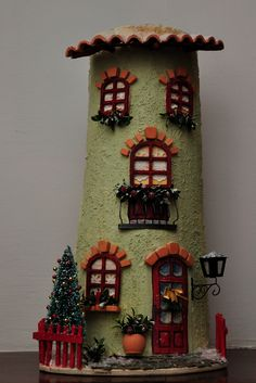 Arts And Crafts Hobbies Clay Houses, Ceramic Houses, Diy And Crafts, Arts And Crafts, Tile Crafts, Wood Vase, World Crafts, Crafts For Seniors, Fairy Garden Houses