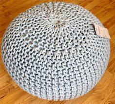 Homescapes Dark Grey Knitted Pouffe Footstool Bean Filled