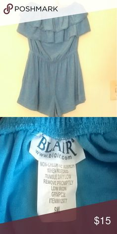 "ROMPER, BLUE TERRY CLOTH, NWOT. This is very cute on, light weight Terry cloth.  Size small but roomy and comfortable, strapless. Looks great on the beach. It's about 23"" top to bottom. Worn once & washed. Blair Swim One Pieces"