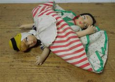 Vintage ~Topsy-Turvy Doll - Cloth - Molded Faces ~ Lenci / Norah Wellings Style