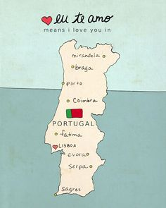 I Love You in Portugal // Typographic Poster, Portuguese Map, Modern Baby Nursery Decor, Illustration, European Map, Travel Theme, Digital
