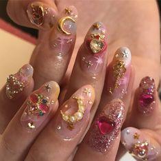 Pin by Lisa Firle on Nageldesign - Nail Art - Nagellack - Nail Polish - Nailart - Nails in 2019 Cute Acrylic Nails, Cute Nails, Pretty Nails, Gel Nails, Nail Polish, Glitter Nails, Kawaii Nails, Dream Nails, Nail Inspo