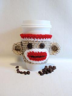 Sock Monkey crocheted Coffee sleeve COZY   by KnottyMonkey on Etsy, $8.00