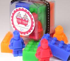 Lego Blocks and Mini Men Kid Soaps - Kid Party Favors -  One Set contains 6 mini soaps. $4.75, via Etsy.