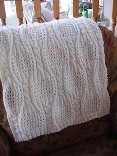 Beautiful traditional Free Pattern: Cabled Eyelet Baby Blanket by Nancy Hearne Knitted Afghans, Knitted Baby Blankets, Baby Blanket Crochet, Crochet Baby, Knitting For Kids, Baby Knitting Patterns, Baby Patterns, Knit Or Crochet, Baby Sweaters