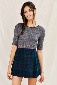 Urban Renewal Recycled Cropped Wool Mini Skirt - Urban Outfitters