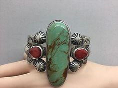 NAVAJO~CHIMNEY BUTTE~ BIG BOLD ~CERRILLOS TURQ~ORANGE SPINY~STERLING ~BRACELET  | eBay