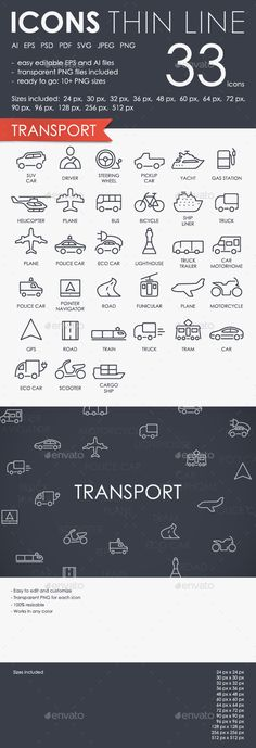 Download Free Graphicriver              Transport Thinline Icons            #airtransport #airplane #bike #boat #bus #car #design #engine #freeway #fuel #icons #line #marine #motorcycle #pictogram #plane #railway #route #ship #shipping #speed #subway #train #transport #transportation #truck #vector #vehicle #web