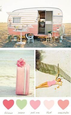 vintage pink travel trailor