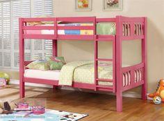 Ranjang Susun Warna Pink Loft Beds - tampilan dari tempat tidur ini sangat unik dan menarik karena memiliki warna pink yang banyak di sukai anak perempuan