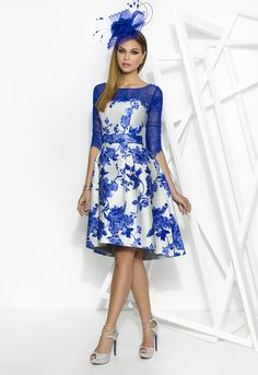 Young and different in this royal blue and pale silver fit and flare dress with 3/4 length sleeve.  Perfect for a Mother of the Bride or Mother of the Groom. In store now in Falkirk, Scotland.   www.froxoffalkirk.com