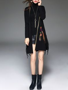 Shop Coats - Black Casual Fringed Animal Print Cashmere Coat online. Discover unique designers fashion at StyleWe.com.