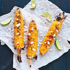 grilled corn + options: lime, cayenne, goat cheese; butter and salt and pepper; plain; etc