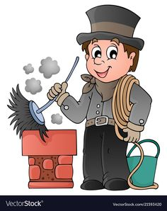 Happy chimney sweeper vector image on VectorStock Petite Section, Free Vector Images, Vector Free, Community Helpers Worksheets, Chimney Sweep, Busy Book, Coloring Books, Clip Art, Disney Characters