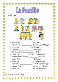 simpsons family La Famille Simpsons (QUIZ) La g - simpsons French Language Lessons, French Language Learning, French Lessons, French Teaching Resources, Teaching French, High School French, Learn To Speak French, French Worksheets, French For Beginners