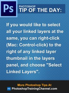 If you would like to select all your linked layers at the same, you can right-click (Mac: Control-click) to the right of any linked layer thumbnail and choose 'Select Linked Layers'.