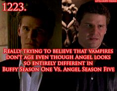 "Anonymous asked: ""Really trying to believe that vampires don't age even though Angel looks so entirely different in the first season of Buffy versus the last season of Angel… But ultimately not being bothered by this because David Boreanaz is..."