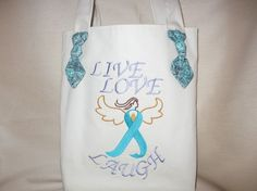 Ovarian Cancer / Uterine Cancer  Angel Embroidery by JosieeDesigns, $20.00